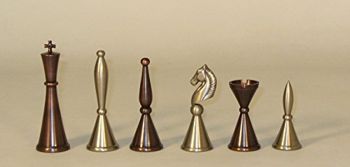 Solid Brass Art Deco Chess Pieces by Worldwise Imports ()