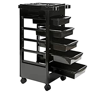 Saloniture Beauty Salon Rolling Trolley Cart With 5 Drawers for Tool Storage