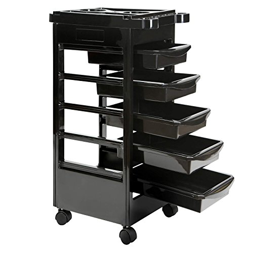 Saloniture Beauty Salon Rolling Trolley Cart with 5 Drawers (Salon Equipment Portable Dryer)