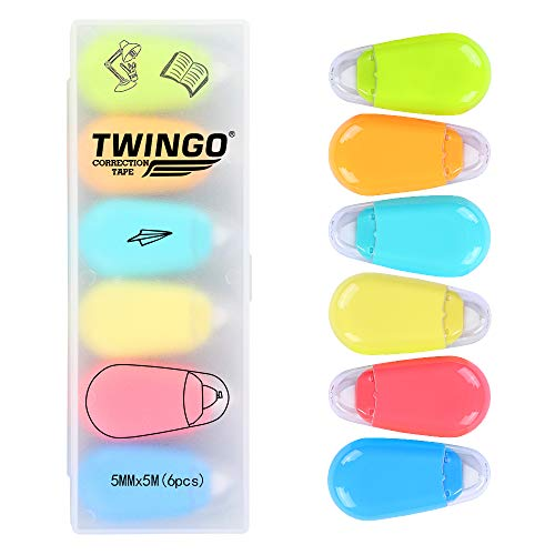 - White Out Correction Tape Mini Correct Roller Cute Tape Pack of 6(U+3246)