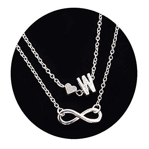 Enamel Silver Vintage Bracelets - Fashion Multilayer Infinity Heart Letter Bracelets for Women Silver Chain Ankle Initial Bracelet Jewelry Ladies Bracelets (w)