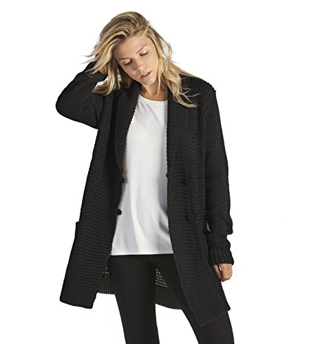 UGG Women's Lillie Button Up Knit Wool Blend Sweater (X-Small, Black)