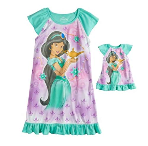 Disney Aladdin Princess Jasmine Girls 4-8 Ruffled Dorm Nightgown & Doll Nightgown Pajamas (6) Purple]()