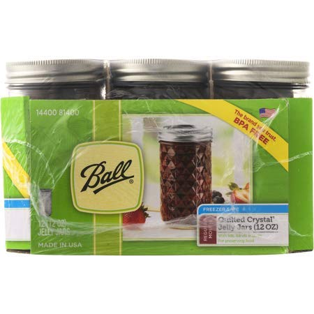 Ball Regular Mouth Quilted Crystal Jelly Jars with Lids and Bands, 12 oz, 12 Count -