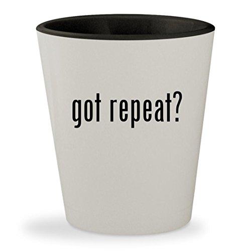 got repeat? - White Outer & Black Inner Ceramic 1.5oz Shot Glass