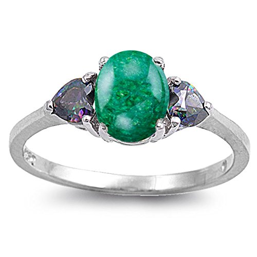925 Sterling Silver Heart Cabochon Natural Genuine Green Malachite Oval Accents Ring Size 9