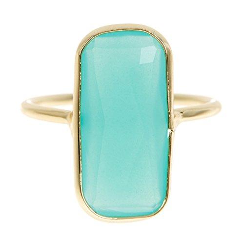 Amazonite 18k Gold Clad Fancy Cut Rectangle Wholesale Gemstone Jewelry Ring (12)