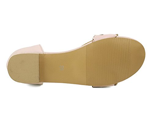 Pu Mini sandali Women Heel Solid Agoolar con fibbia rosa x4aRBqYAn