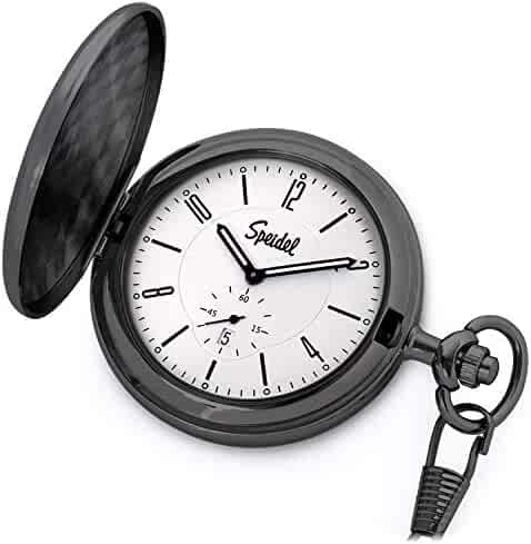Speidel Classic Brushed Satin Black Engravable Pocket Watch with 14
