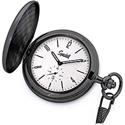 "Speidel Classic Brushed Satin Black Engravable Pocket Watch with 14"" Chain, Bright Silver Dial, Date Window, Seconds Sub-Dial and Luminous Hands"