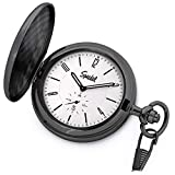 Speidel Classic Brushed Satin Black Engravable Pocket Watch with 14'' Chain, Bright Silver Dial, Date Window, Seconds Sub-Dial and Luminous Hands