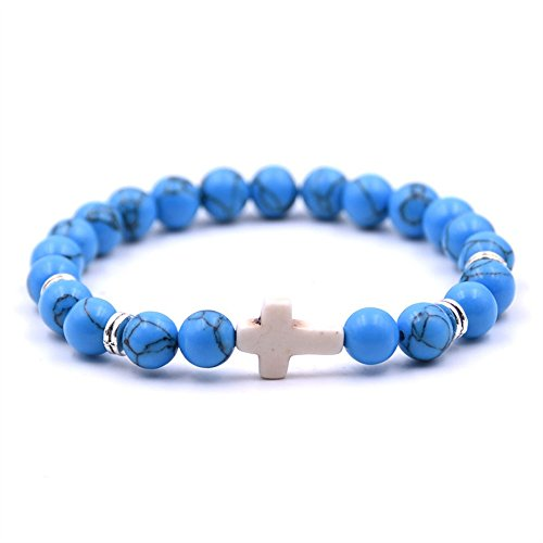 Bead Baby Bracelet - ZHEPIN Fashion Alloy Cross 8MM Beads Bracelet Bangle for Boy Girl Prayer Bracelets,7.5 Inches
