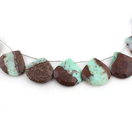 1 Strand Natural Bio Chrysoprase Faceted Briolettes - Heart Shape Beads 27mm-29mm 8 inches by Gemswholesale