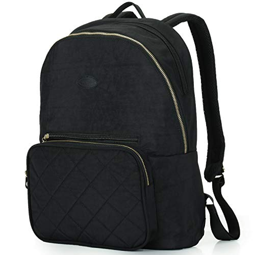 Quilted Trolley - Nylon Casual Travel Daypack Backpack with 13 Inch Laptop Compartment, with Trolley Strap and Quilted Pocket for Women (Black)