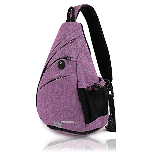 Waterfly Sling Backpack Sling Bag Small Crossbody Daypack Casual Backpack Chest Bag Rucksack for Men & Women Outdoor Cycling Hiking Travel (Purple 1)