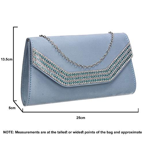Bag Diamante Faux Serenity Clutch Harper Womens Ladies Suede SWANKYSWANS Blue qOHwxva