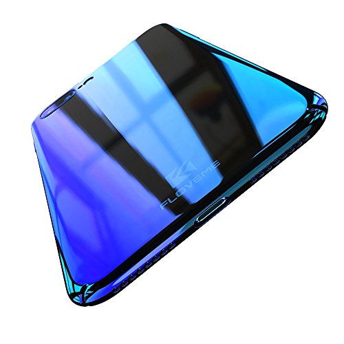 FLOVEME Apple iPhone 7/iPhone 8 Case, Luxury Slim Fit Gradual Colorful Gradient Change Color Ultra Thin Lightweight Electroplating Bumper Anti-Drop Clear Hard Back Cover Holder, Transparent Blue