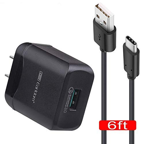 Fast Charger Adapter & 6ft USB Type C to A Cable Cord Compatible Samsung Galaxy S8 S9 S8+ / Plus / Note 8, LG V30 V20 G7 G6 G5, HTC U11 / HTC 10 and More, Qualcomm Quick Charge 3.0 ()