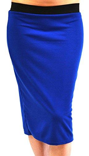 Jupes Plus Midi Taille Blue lastiqu Plaine 54 Femmes Taille Noir Royal Band 44 Nouveau Pencil vaT5xf