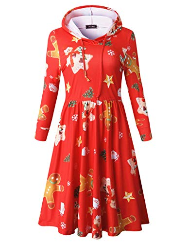(Fit and Flare Dresses for Women Long Sleeve Xmas Snowman Dress (L, Red))