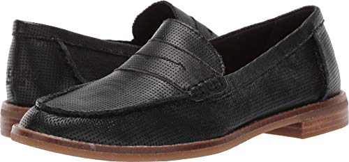 Sperry Top-Sider Seaport Penny Perforated Leather Women 7.5 Black