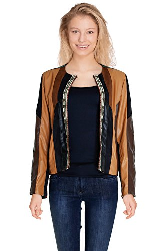 Bi 3 Longues matiere Femme Patchwork Camel Similidaim En Paris Manches Cherry Similicuir Disponible Couleurs Veste Dallas O5qH8nwwd
