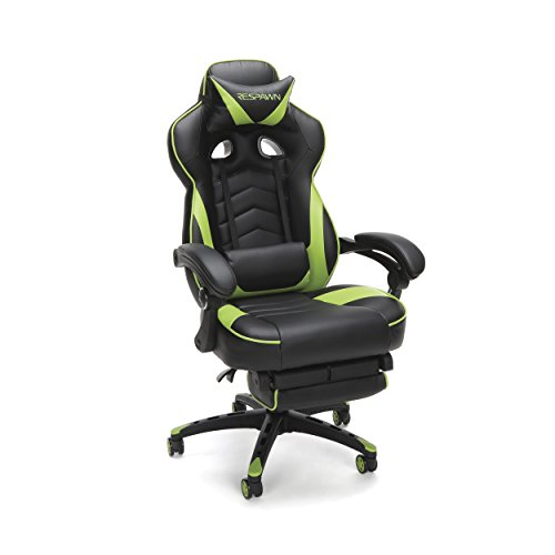 RESPAWN-110 Racing Style Gaming Chair - Reclining Ergonomic Leather Chair with Footrest, Office Or Gaming Chair (RSP-110-GRN) ()