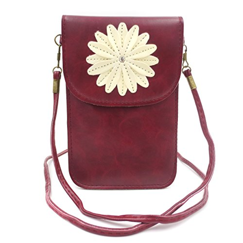 MiCoolker Soft PU Leather Small Phone Purse Chrysanthemum Pattern Premium Universal Crossbody Shoulder Bag Messenger Bags Pouch Case for Girls and Women (Wine) Premium Mobile Experience