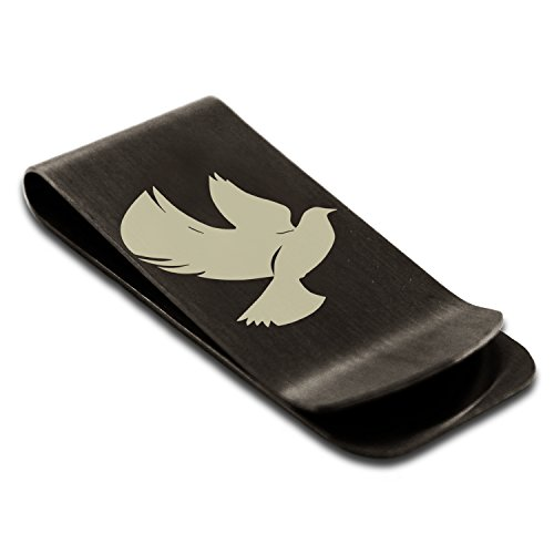 Engraved Credit Clip Dove Card Tioneer Holder Symbol Black Peace Stainless Money of Steel HY4zqwY