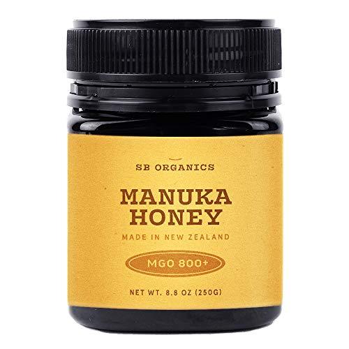 SB Organics MGO 800+ Raw Manuka Honey - Authentic Medicinal Grade Premium Certified New Zealand Honey - Non-GMO, Halal, Additive-Free, Quality Honey - 8.8 Ounces