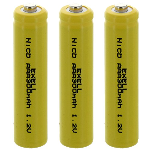 (3x AAA 1.2V 300mAh NiCD Button Top Rechargeable Batteries for electric tools and toys, electric razors)