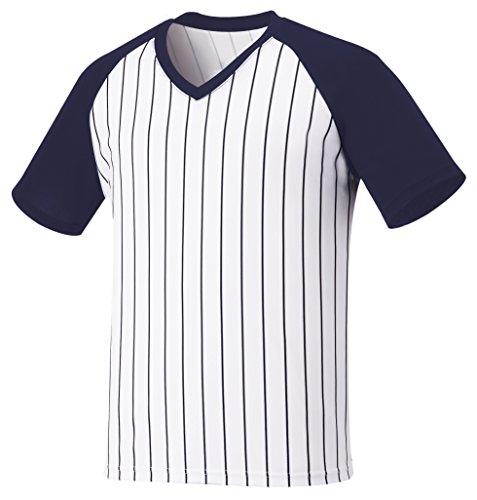 myglory77mall Vneck Pinstripe Baseball Raglan Coolmax Dryfit Tshirts Jersey Top 2XL(3XL tag) Navy