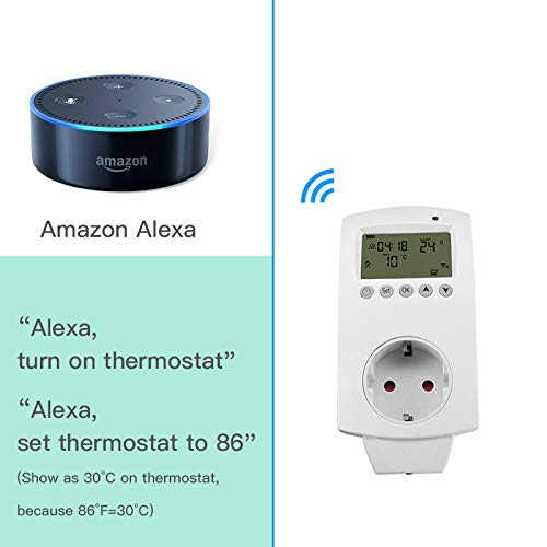 aixi-SHS Wireless Wi-Fi Plug termostato calefacción eléctrica Smart socket control de temperatura pantalla LED - Amazon Alexa echo/Google Home/IFTTT ...