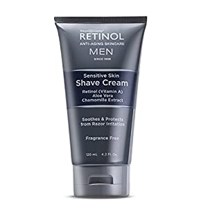 Retinol Men's Sensitive Skin Shave Cream – The Original Retinol Anti-Aging Skincare for Men – Creamy Lather Prevents Irritation & Delivers a Close, Comfortable Daily Shave – Leaves Skin Soft & Smooth