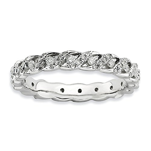 Diamond (I3, J-K 0.5 cttw) Size 8 3.5mm Spiral Eternity Band Silver Stackable Expressions Ring by Stackable Expressions