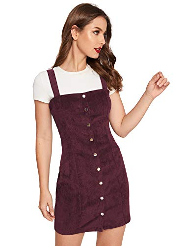 Floerns Women's Cute Strap Button up Corduroy Overall Sheath Pinafore Dress Burgundy-2 S
