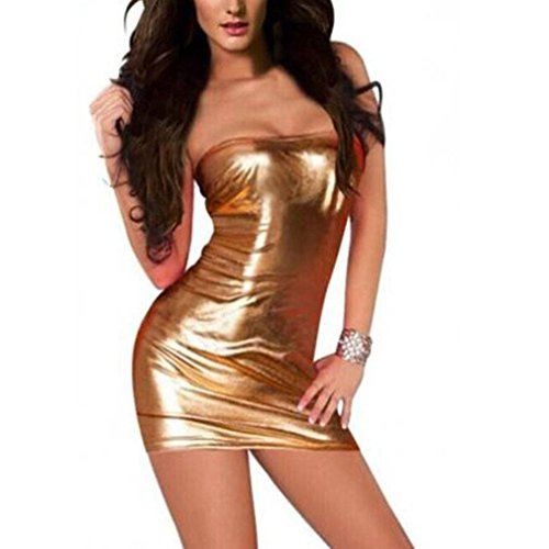 Malbaba Women Fashion Skinny Sleeveless Bodycon Dress Hot Tight-Fitting Leather Braces Skirt Clubwear Stripper (Gold)