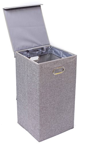 BirdRock Home Single Laundry Hamper with Lid and Removable Liner | Linen | Easily Transport Laundry | Foldable Hamper | Cut Out Handles (Baby Boy Hamper Gifts)