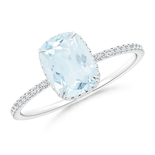Thin Shank Cushion Cut Aquamarine Ring With Diamond Accents in 14K White Gold (8x6mm Aquamarine)