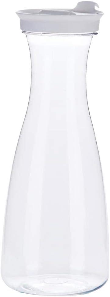 Glaskanne Milch Wasserkrug mit Auslauf und handlichem Griff KADAX Krug Glaskrug aus robustem Glas Saft Glaskaraffe f/ür kalte Getr/änke transparent Eistee Luca, 1.23L