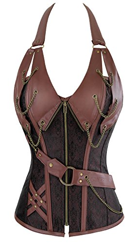 Charmian Women's 14 Spiral Steel Boned Steampunk Retro Halter Leather Bustier Corset Plus Size Heavy-Strong-Steel-Halter-Brown -