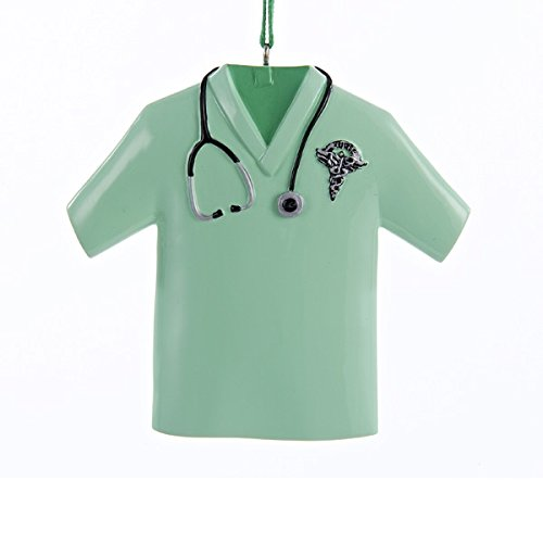 Kurt S. Adler Green Nurse Scrub Top with Stethoscope and ...