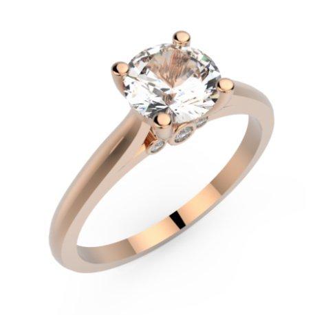 AVANI Bagues Or Rose 18 carats Saphir Blanc 0,6 Rond