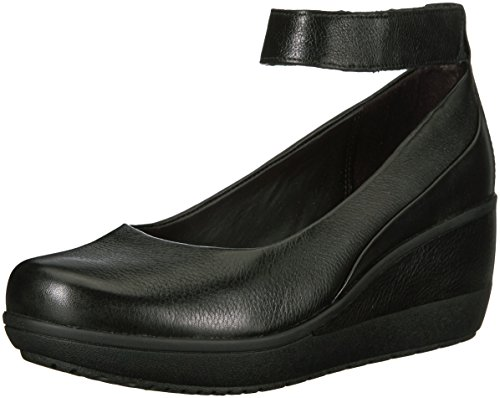 CLARKS Women's Wynnmere Fox Wedge Pump, Black, 9.5 M (Black Leather Wedge Shoes)