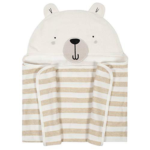 Gerber Baby Hooded Bath Wrap, Teddy Bear (Oatmeal), One Size