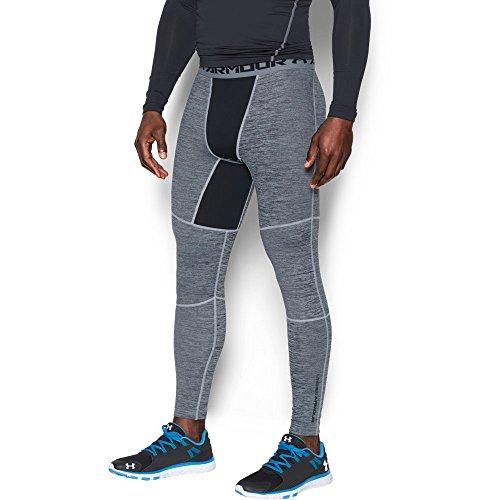 Under Armour Men's ColdGear Armour Twist Compression Leggings, White/Black, (Under Armour Mens Coldgear Leggings)