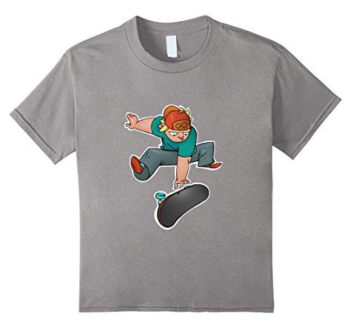 Kids Funny Skateboarder trick on Skateboard T-Shirt Gift Men Boys 6 Slate
