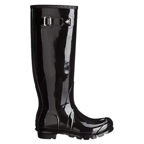 HUNTER Boots Women's Original Tall Gloss Pull On Rain Boot Black 6 Medium US from HUNTER