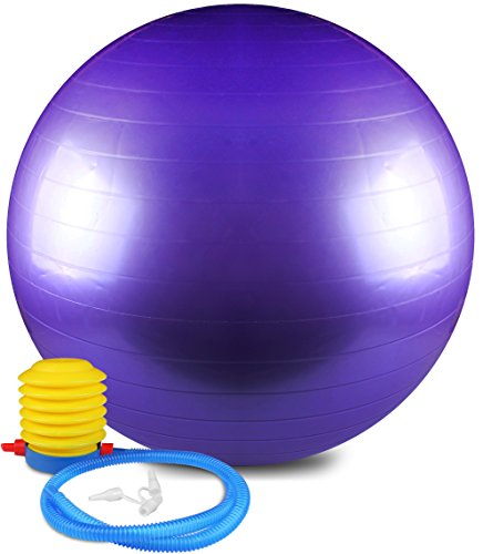 Anti Burst and Slip Resistant Yoga Ball – Exercise Ball – Fitness Ball – Total Body Balance Ball – By Utopia Home (Purple, 55 CM)