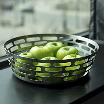 "SteelForme Brushed 12"" Stainless Steel Round Fruit Bowl"